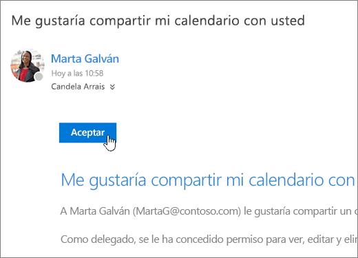 Captura de pantalla de una invitación de calendario compartido.