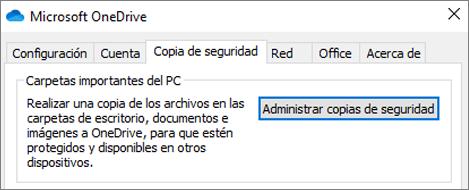 Pestaña copia de seguridad en configuración de escritorio para OneDrive