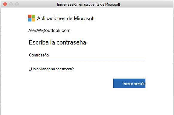 Página de inicio de sesión de MSA en Outlook para Mac
