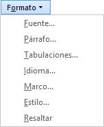 En el cuadro de diálogo Buscar y reemplazar, elija Formato y, a continuación, en una opción en la lista desplegable.