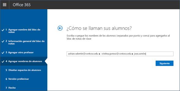 Captura de pantalla de cómo agregar nombres de alumnos al creador del Bloc de notas.