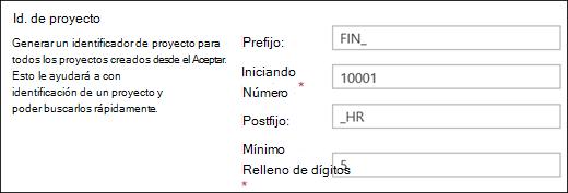 Configuración de ID de proyecto