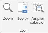 Grupo Zoom en la cinta de Excel
