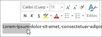 Minibarra de herramientas con texto seleccionado