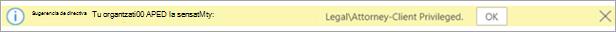 Captura de pantalla de una sugerencia de directiva para una etiqueta de confidencialidad aplicada automáticamente