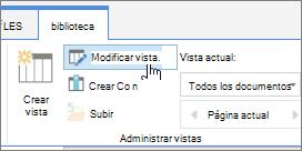 Ficha de la biblioteca de SharePoint Online cinta modificar la opción de vista