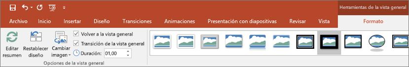 Se muestra la sección Herramientas de la vista general de la pestaña Formato de la cinta de opciones de PowerPoint.