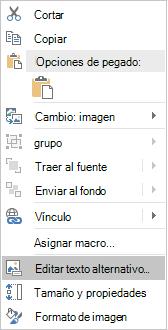 Menú editar texto alternativo de Excel Win32 para imágenes