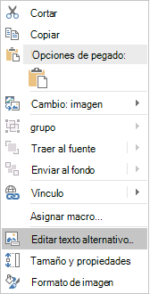 Menú de Excel Win32 modificar Alt texto de imágenes