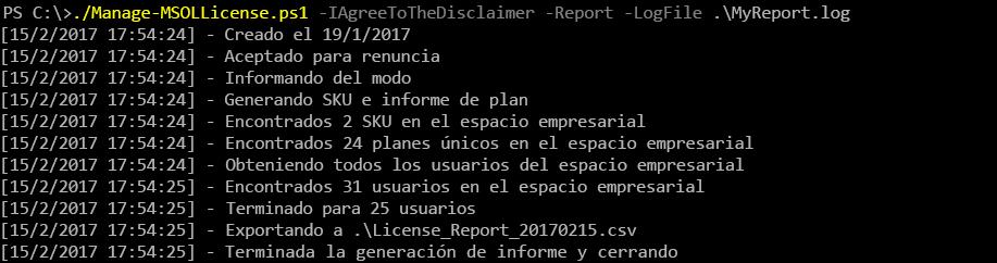 Resultado después de ejecutar el script Manage-MSOLLicense.