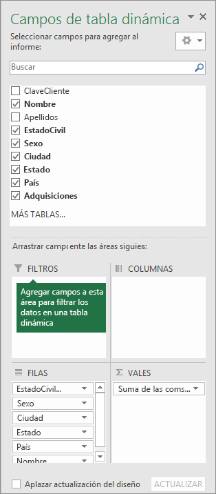 Área de filtros de panel PivotTable Fields