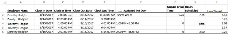 Datos del reloj de tiempo de ejemplo para un empleado