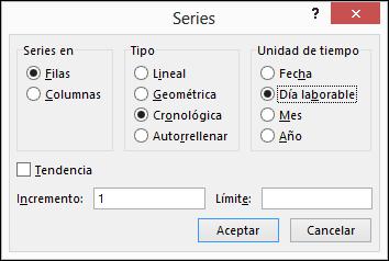 Opciones de Excel Rellenar > Series
