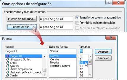Cambiar la fuente de la lista de mensajes a un tamaño de fuente más grande