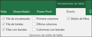 Imagen de la opción Herramientas de tabla en la cinta cuando se selecciona una celda de tabla