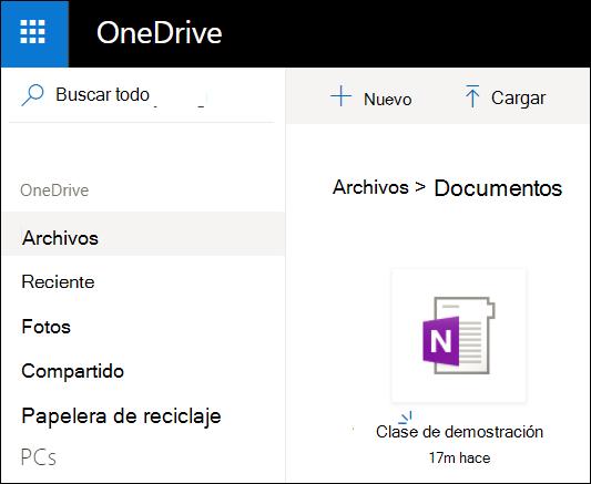Carpeta de documentos de OneDrive de cuenta de Microsoft