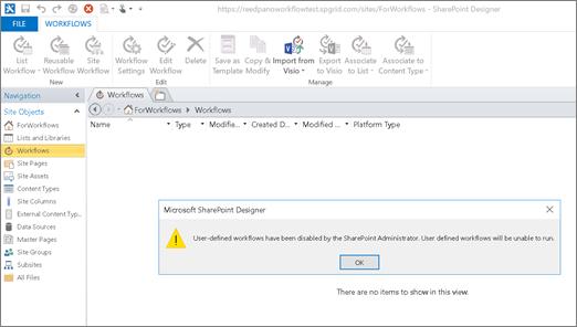 Captura de pantalla del flujo de trabajo de SharePoint 2010 en SharePoint Designer cuando el flujo de trabajo de SharePoint 2010 está deshabilitado