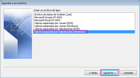 Elija exportar a un archivo .csv (Windows).
