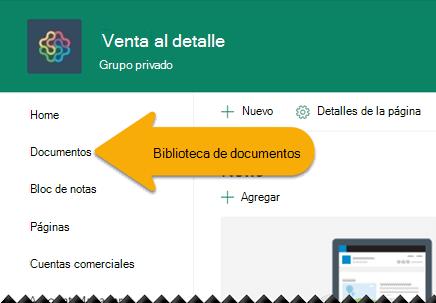 En el panel de navegación izquierdo, seleccione Documentos para abrir la biblioteca de documentos.