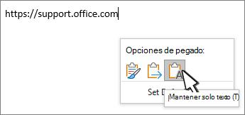 Soltar el botón desplegable con el cursor sobre el texto