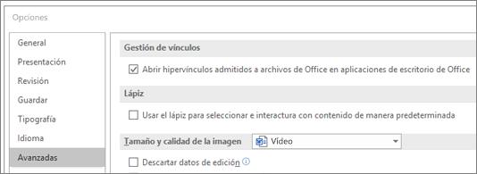 Cuadro de diálogo Opciones con la casilla de verificación Abrir hipervínculos resaltada