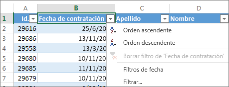 Ordenar la columna de una tabla