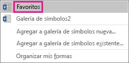 Haga clic en Favoritos para agregar la forma seleccionada a la galería de símbolos Favoritos.