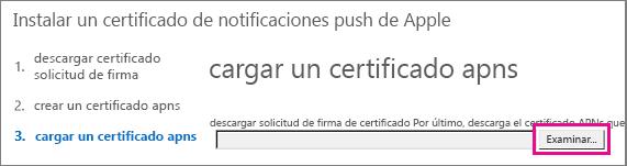 Cargar el certificado que creaste en el portal de certificado push de Apple.