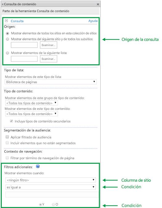 Configuración de consultas en CQWP