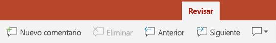 La ficha Revisar de la cinta de PowerPoint en tabletas Android tiene botones para el uso de comentarios.