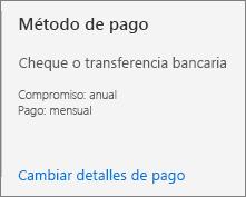 La interfaz de usuario del método de pago muestra que esta suscripción está configurada para pagarse con factura.