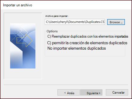 Seleccione el archivo que desea importar.