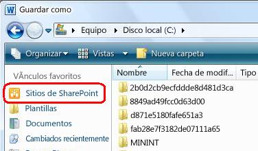 Los sitios de SharePoint se vinculan en el cuadro de diálogo Guardar como