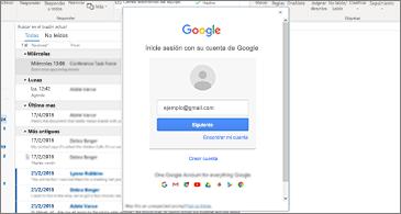 Bandeja de entrada en el fondo y cuadro de diálogo Inicio de sesión en Google en primer plano.