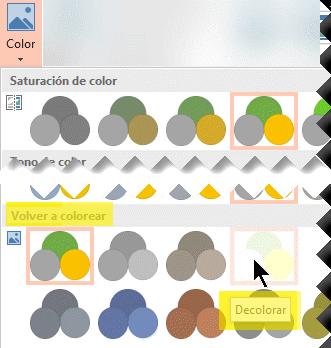 En la pestaña Formato de herramientas de imagen de la cinta de opciones de la barra de herramientas, seleccione Colorear. En Volver a colorear, seleccione Decolorar.