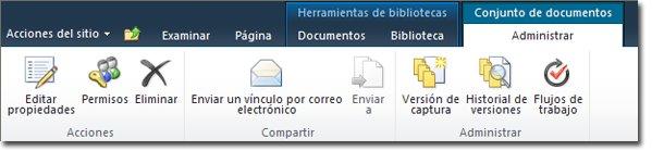 Administrar la cinta de opciones Conjunto de documentos