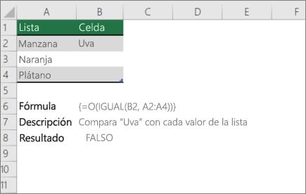 Ejemplo que usa las funciones o y EXACTAs para comparar un valor con una lista de valores