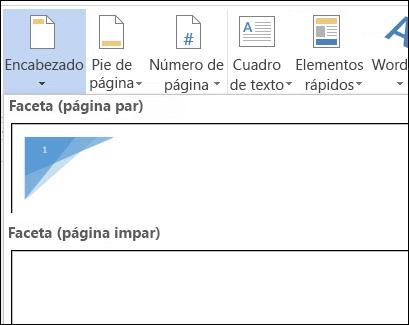 Diseños de encabezado para páginas pares e impares