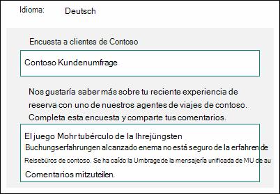 Traducir contenido a otro idioma en Microsoft Forms