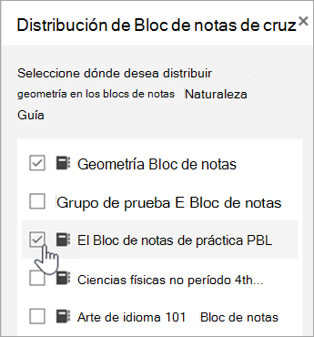 Ventana para la selección de distribución entre blocs de notas