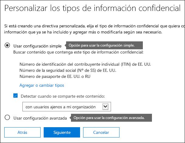 Opciones de DLP para configuraciones simples y avanzadas