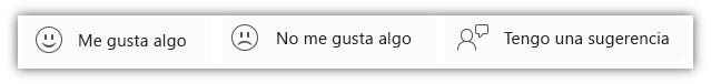 """Captura de pantalla de los botones de comentarios, incluidos """"Me gusta algo"""", """"No me gusta algo"""" y """"Tengo una sugerencia""""."""