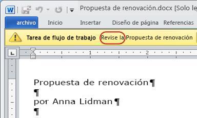 Texto Apruebe en la barra de mensajes del elemento