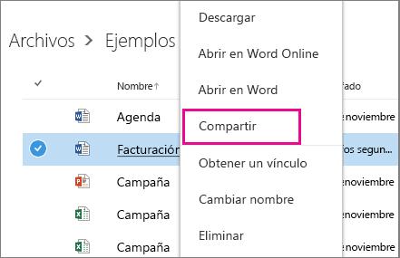 Captura de pantalla en la que se comparte un documento haciendo clic en el botón derecho y seleccionando Compartir