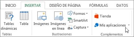 Captura de pantalla de una sección de la ficha Insertar en la cinta de opciones de Excel con un cursor apuntando a mis aplicaciones. Seleccione Mis aplicaciones para aplicaciones de access para Excel.