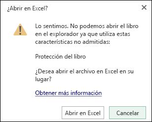 Cuadro de diálogo al abrir un libro protegido con contraseña en Excel Online