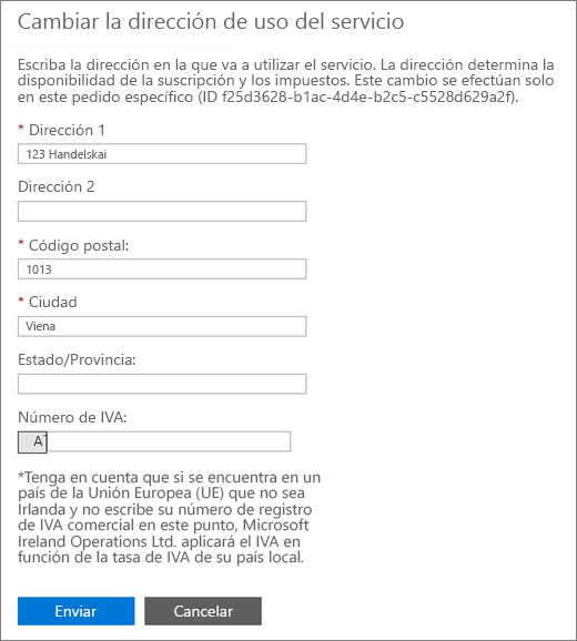 La edición de la página de dirección de uso de servicio con el IVA número cuadro en la parte inferior.