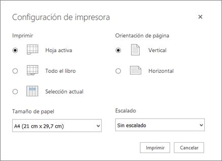 Opciones de configuración de impresión después de hacer clic en archivo > Imprimir