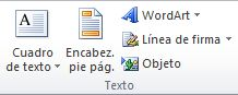 El grupo Texto en la pestaña Insertar en la cinta de opciones de Excel 2010.
