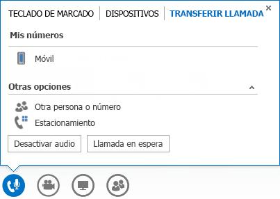 Captura de pantalla de transferencia de un menú de llamada